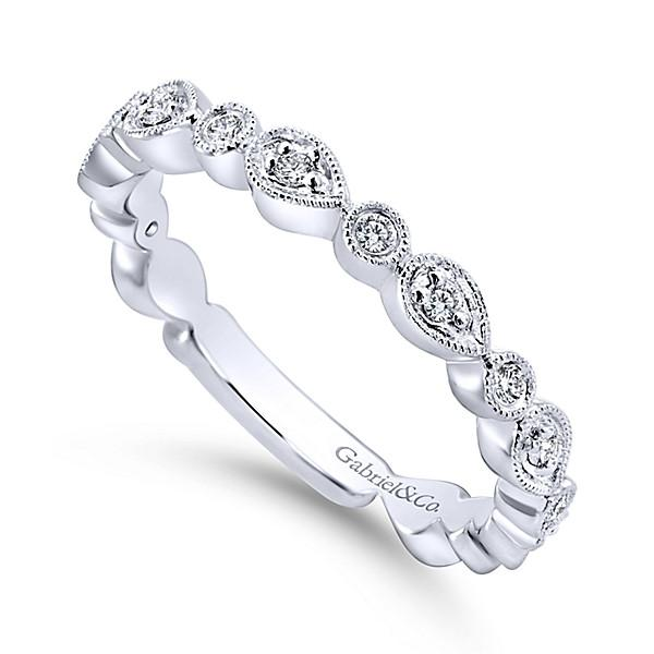 565d6c4bf7189 14K White Gold Pear Shaped Stackable Diamond Ring