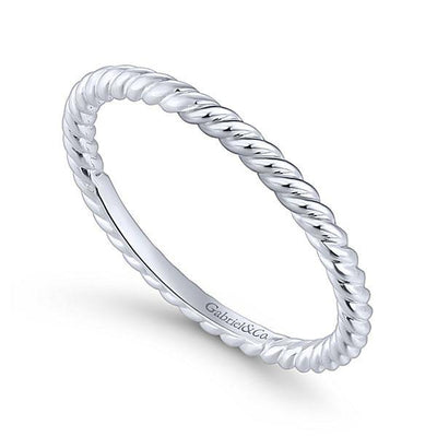 Wedding Ring - 14K White Gold Rolled Metal Design Stackable Band