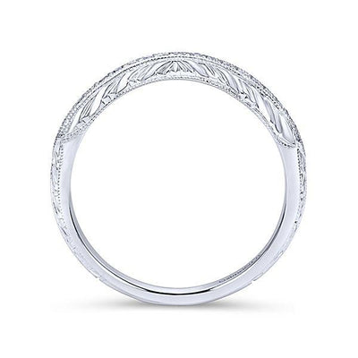 Wedding Ring - 14K White Gold Vintage Curved Diamond Wedding Ring
