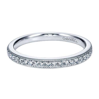 14K White Gold Vintage Style Straight Bead Set Diamond Wedding Ring