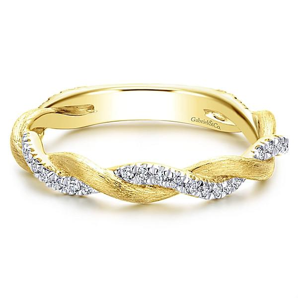 14k Yellow Gold Crossover Woven Diamond Stackable Ring Mullen Jewelers