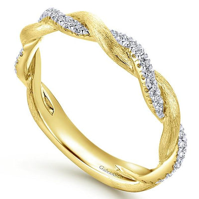 Wedding Ring - 14K Yellow Gold Crossover Woven Diamond Stackable Ring