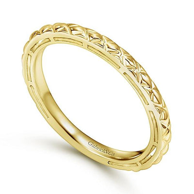 Wedding Ring - 14K Yellow Gold Engraved Stackable Ring