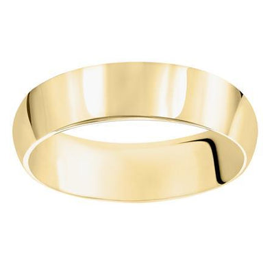 Wedding Ring - 14K Yellow Gold Mens 6mm Heavy Domed Wedding Ring