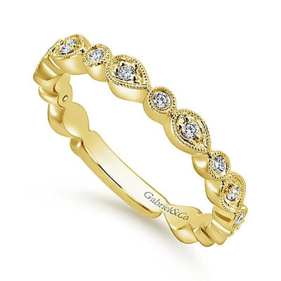 Wedding Ring - 14K Yellow Gold Pear Shaped Stackable Diamond Ring