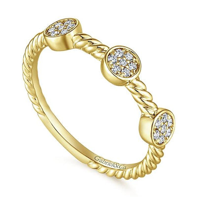 Wedding Ring - 14K Yellow Gold Round Cluster Diamond Stackable Ring