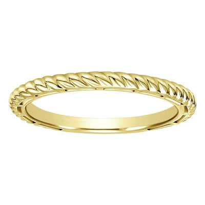 Wedding Ring - 14K Yellow Gold Stackable Ring With Roped Design