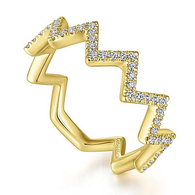 Wedding Ring - 14K Yellow Gold Zig Zag Diamond Stackable Ring