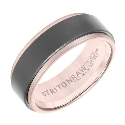 Wedding Ring - 18K Rose Gold And Raw Tungsten Carbide 8mm Wide Mens Wedding Ring