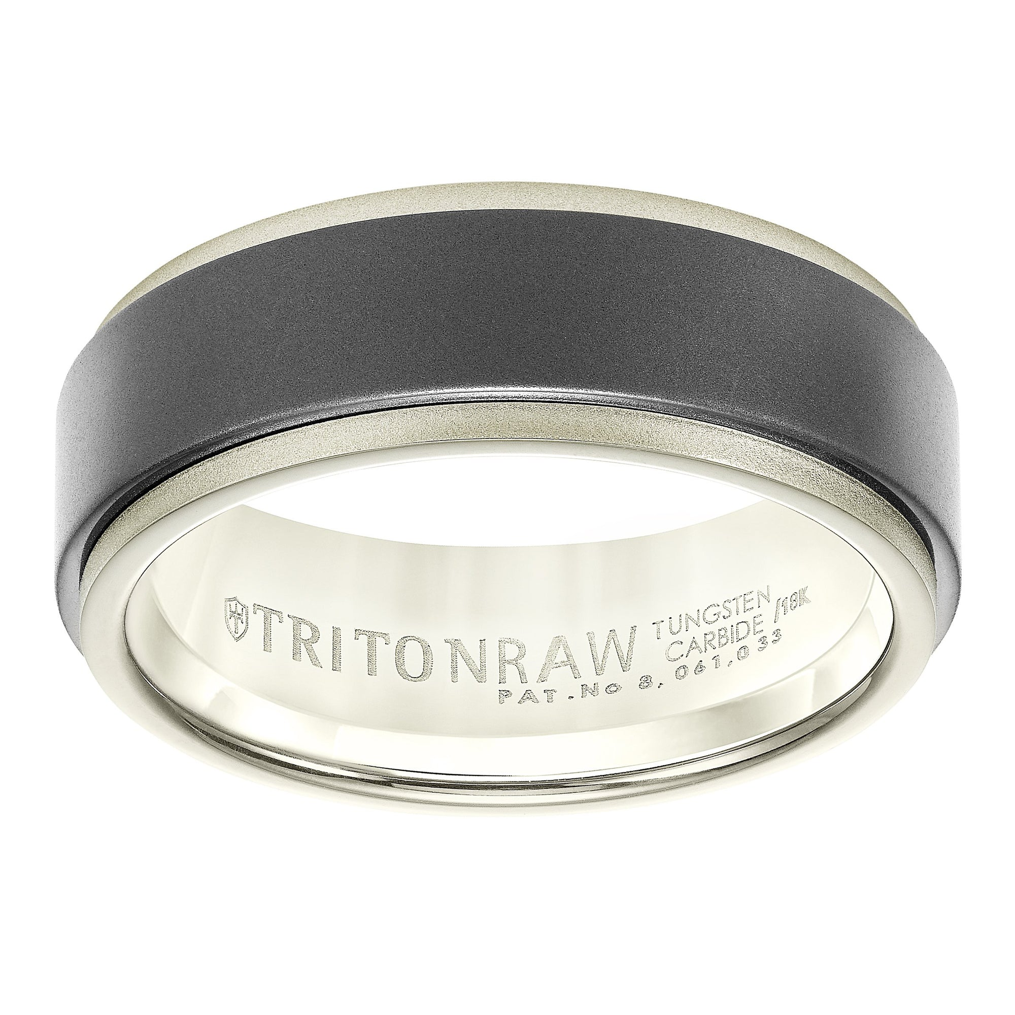 White Gold Mens Wedding Bands.18k White Gold And Raw Tungsten Carbide 8mm Wide Mens Wedding Ring