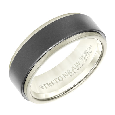 Wedding Ring - 18K White Gold And Raw Tungsten Carbide 8mm Wide Mens Wedding Ring