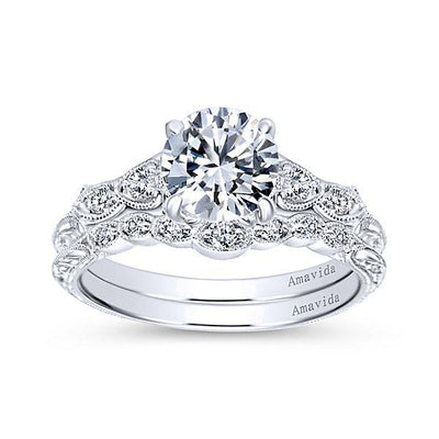 Wedding Ring - 18K White Gold Vintage Inspired Amavida Diamond Wedding Ring