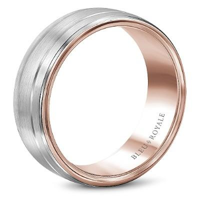 Wedding Ring - Bleu Royale 14K Rose And White Gold Wedding Ring With Sandpaper Finish