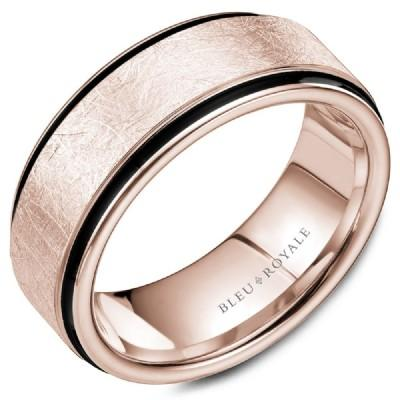 Wedding Ring - Bleu Royale 14K Rose Gold 8.5MM Mens Wedding Ring With Distressed Diamond Brush Finish And Black Carbon Accents