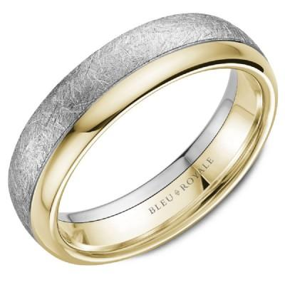 Bleu Royale 14k Two Tone 6mm Mens Wedding Ring With Distressed