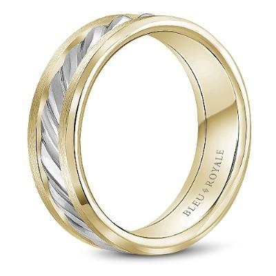 Wedding Ring - Bleu Royale 14K Two Tone 7.5MM Mens Wedding Ring With Beveled Interior