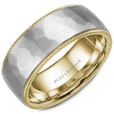 Wedding Ring - Bleu Royale 14K Two-Tone Brushed And Hammered Mens Wedding Ring With Roped Edging