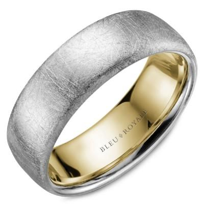 Wedding Ring - Bleu Royale 14K White And Yellow Gold Mens Wedding Ring With Distressed Diamond Brush Finish