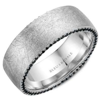 Wedding Ring - Bleu Royale 14K White Gold Distressed Men's Wedding Ring With Black Diamond Edging