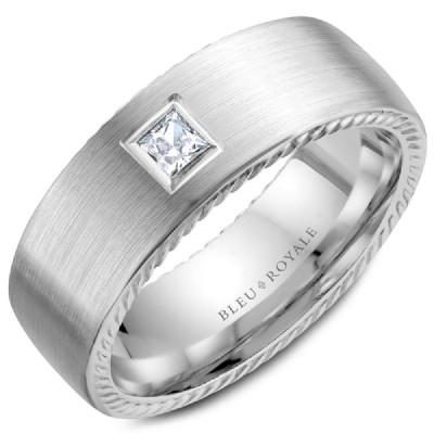 Wedding Ring - Bleu Royale 14K White Gold Men's Wedding Ring With Princess Cut Diamond Accent