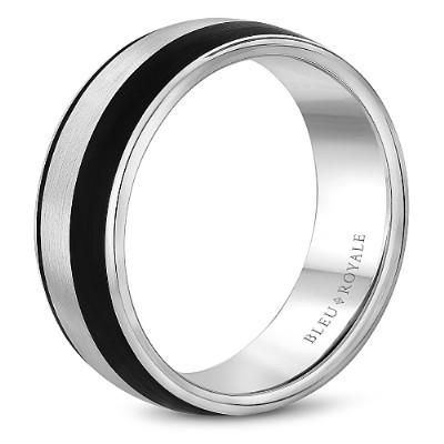 Wedding Ring - Bleu Royale 14K White Gold Mens Wedding Ring With Black Carbon Accent