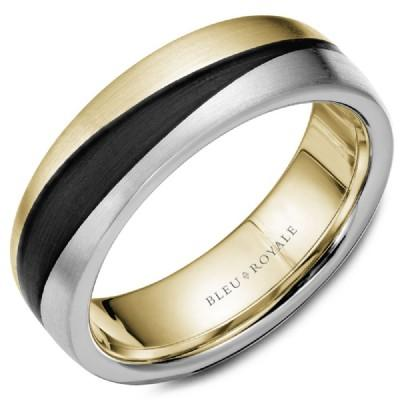 Wedding Ring - Bleu Royale 14K Yellow And White Gold 7MM Mens Wedding Ring With With Waved Tri-tone And Black Carbon Accents
