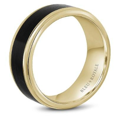 Wedding Ring - Bleu Royale 14K Yellow Gold 8.5MM Mens Wedding Ring With Black Carbon Accent