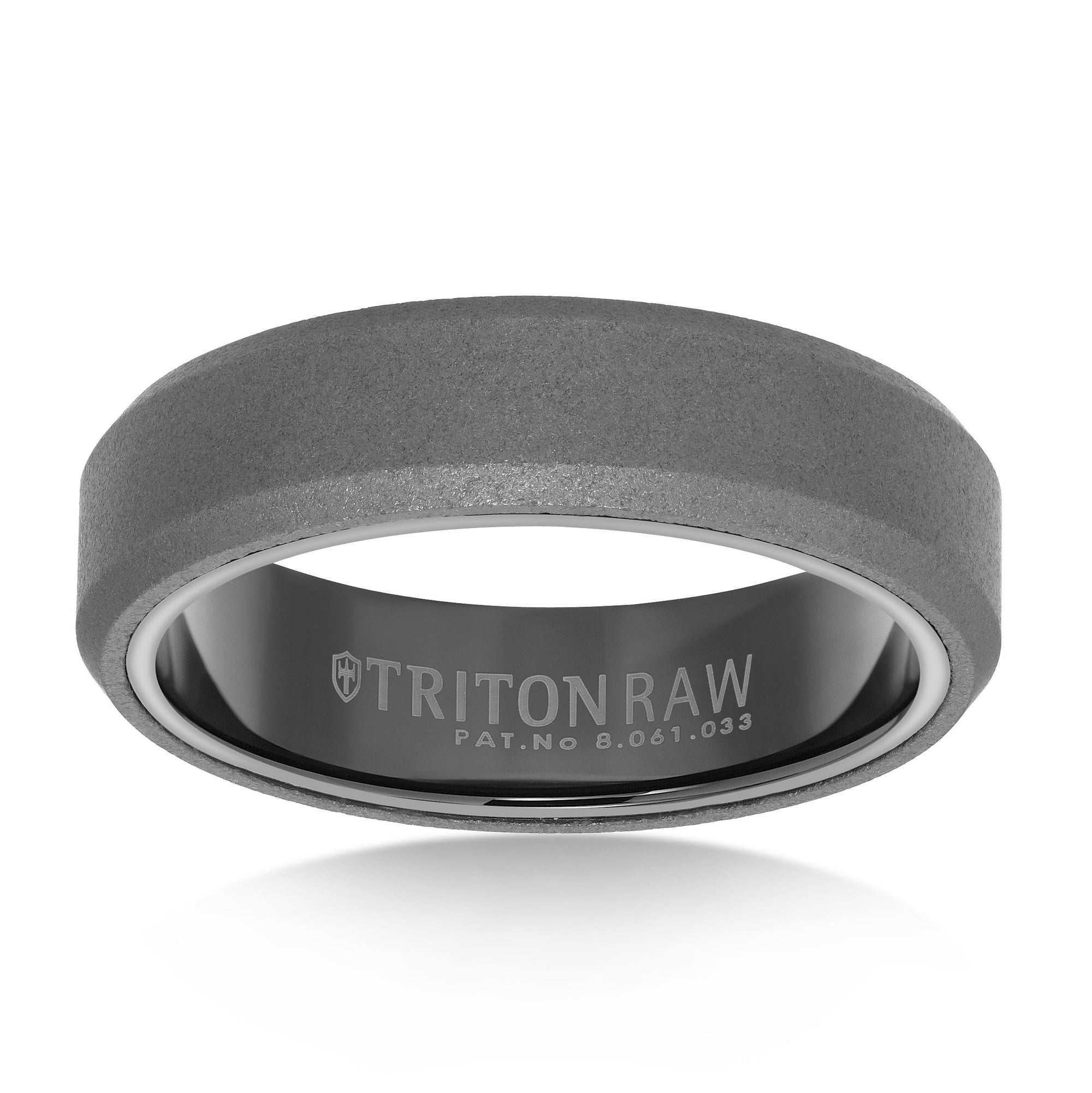 It is a picture of Raw Tungsten Carbide 30mm Wide Mens Wedding Ring with Black Tungsten Sleeve