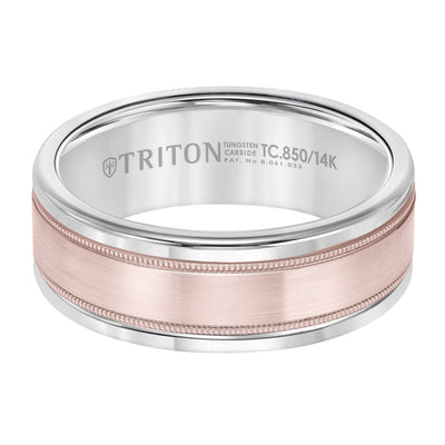 Wedding Ring - Tungsten Carbide And 14K Rose Gold 8mm Wide Mens 3-Band Style Wedding Ring