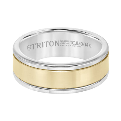 Wedding Ring - Tungsten Carbide And 14K Yellow Gold 8mm Wide Mens 3-Band Style Wedding Ring