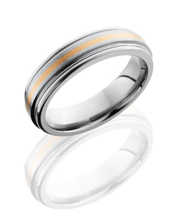 Gold Rings Bands Titanium Wedding Ring With 14k Yellow Gold Inlay