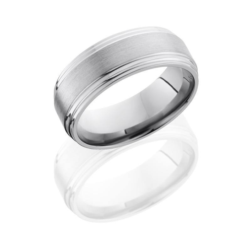 Titanium 8mm Wide Flat Wedding Band With Double Grooved