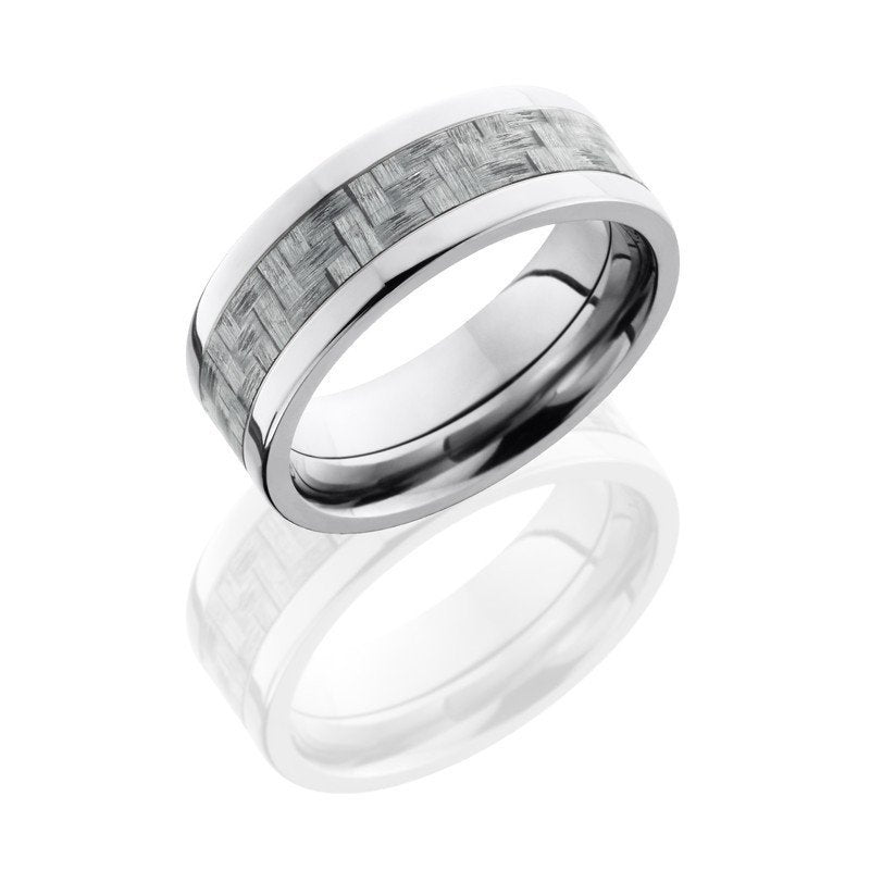 wedding titanium 8mm wide silver carbon fiber wedding band - Carbon Fiber Wedding Rings