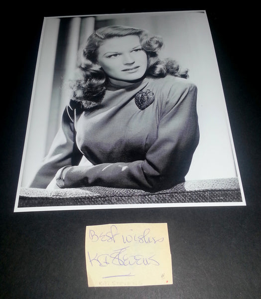 BEAUTIFUL ACTRESS K.T. STEVENS SIGNED CUT AND GREAT PRINT
