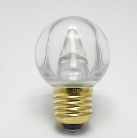 LED G50 Globe Smooth Plastic Bulb, 5 SMD LEDs, 0.8W - Sun Warm White - (Medium Base/E27)