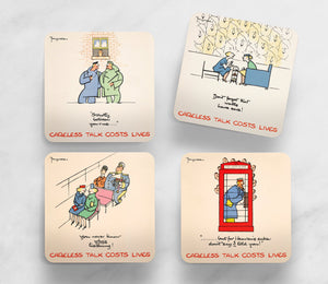 SET OF 4 COASTERS: CARELESS TALK (SET 1)
