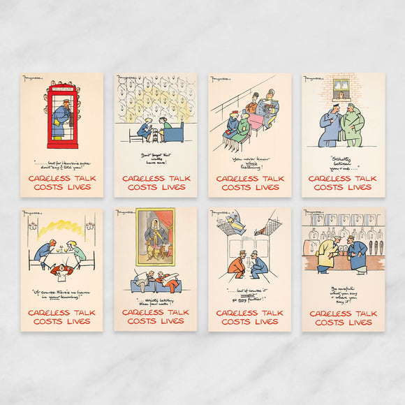 SET OF 8 POSTCARDS: CARELESS TALK