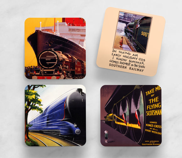 SET OF 4 COASTERS: LOCOMOTION (SET 2)