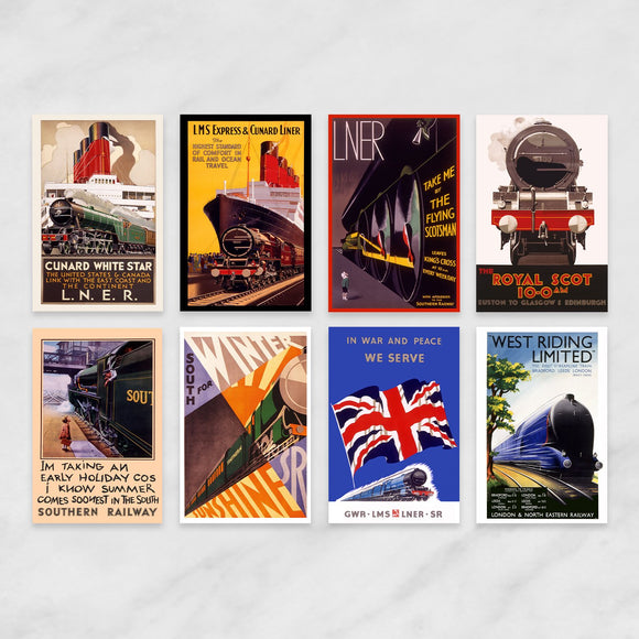 SET OF 8 POSTCARDS: LOCOMOTION