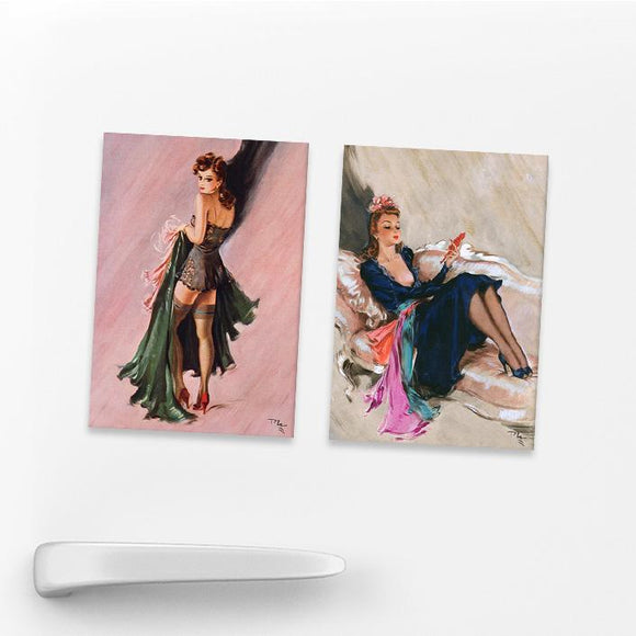 SET OF 2 MAGNETS: WARTIME PIN-UPS (SET 1)