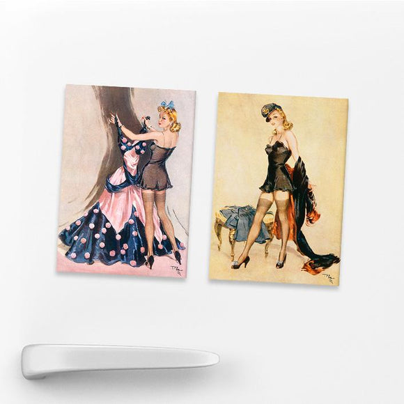 SET OF 2 MAGNETS: WARTIME PIN-UPS (SET 2)