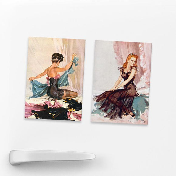 SET OF 2 MAGNETS: WARTIME PIN-UPS (SET 3)