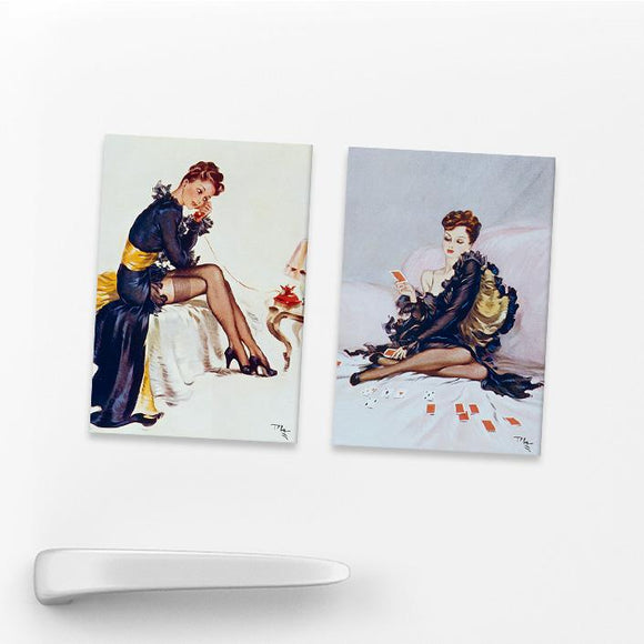 SET OF 2 MAGNETS: WARTIME PIN-UPS (SET 4)