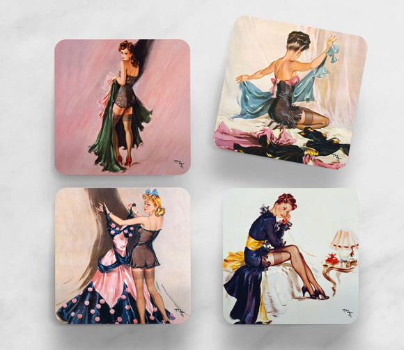 SET OF 4 COASTERS: WARTIME PIN-UPS (SET 1)