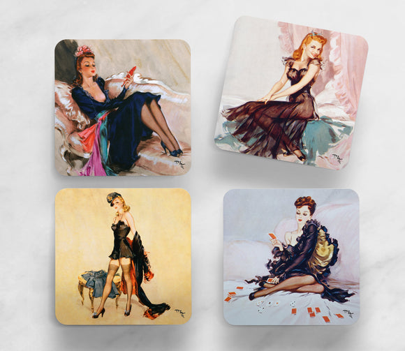 SET OF 4 COASTERS: WARTIME PIN-UPS (SET 2)