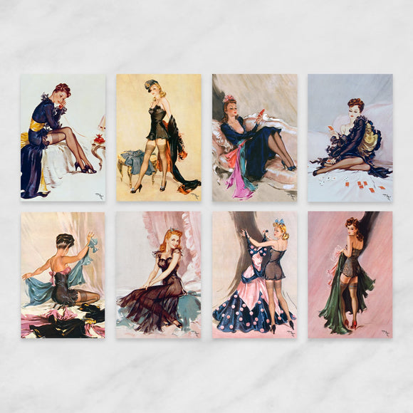 SET OF 8 POSTCARDS: WARTIME PIN-UPS