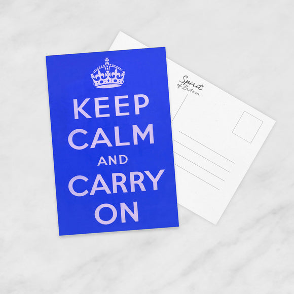 POSTCARD: Keep Calm And Carry On (Blue)