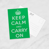 POSTCARD: Keep Calm and Carry On (Green)