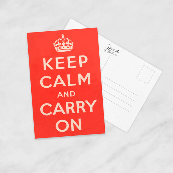POSTCARD: Keep Calm And Carry On (Red)