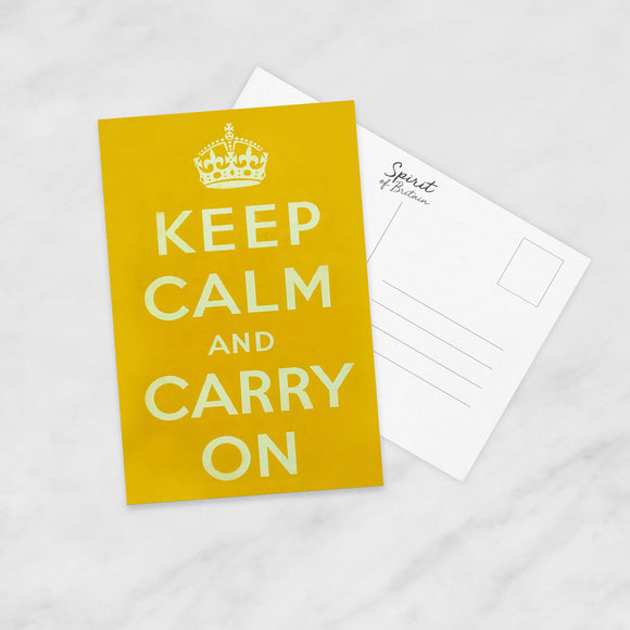 POSTCARD: Keep Calm And Carry On (Yellow)